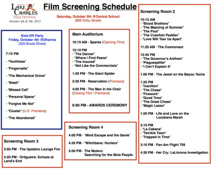 Lake Charles Film Festival Schedule